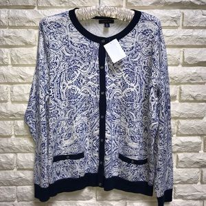 Lands' End blue white print cardigan NWT XL 18